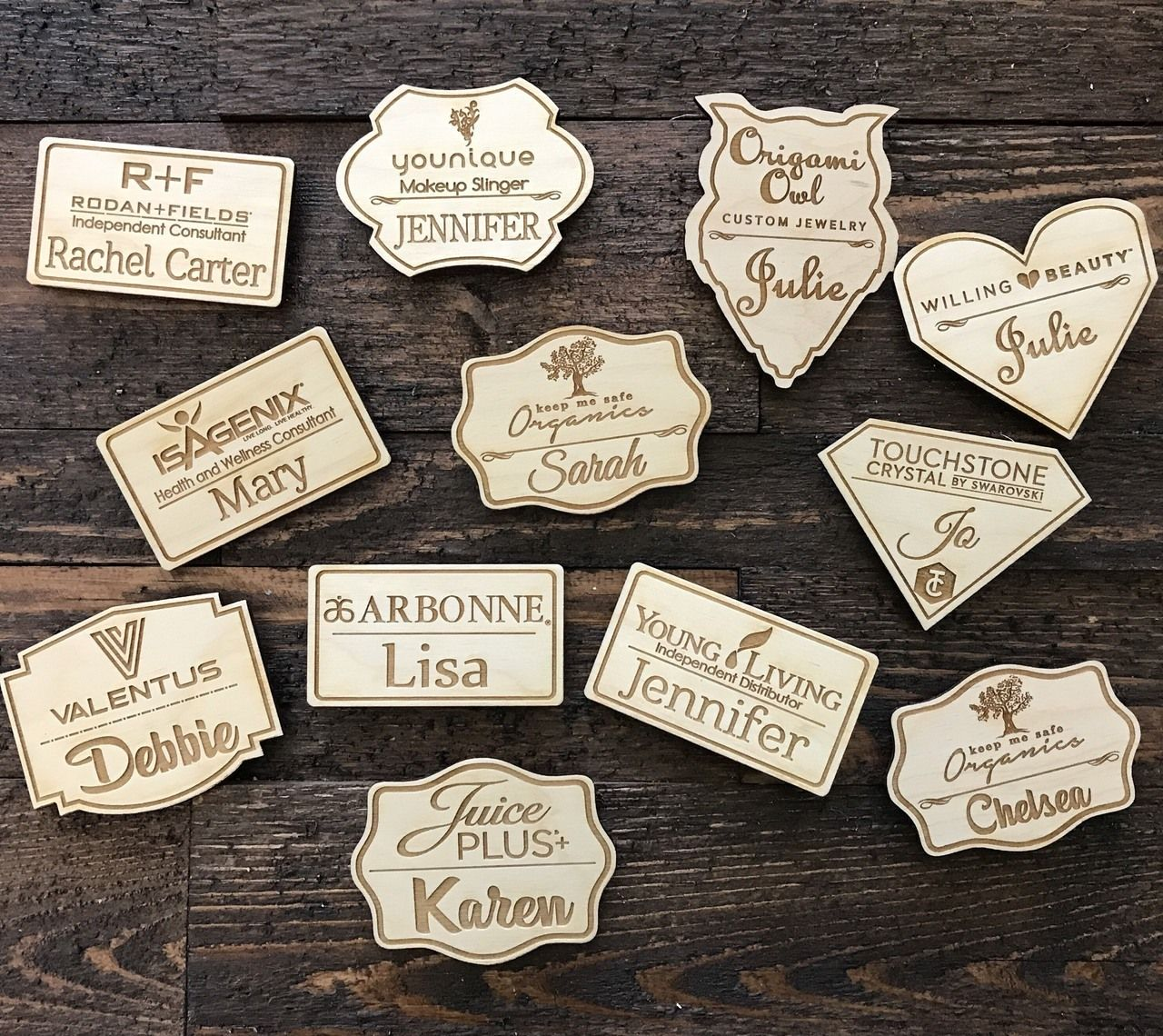 Name Tag Laser Engraved On Wood Direct Sales Mlm Lularoe Lemongrass Spa Legalshield Primerica Arbonne Laser Engraving Personalized Engraved Gifts Name Tags