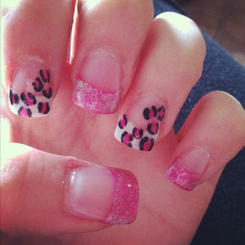 Printed Acrylic Nail Designs With Dotted Pink And White Glitters