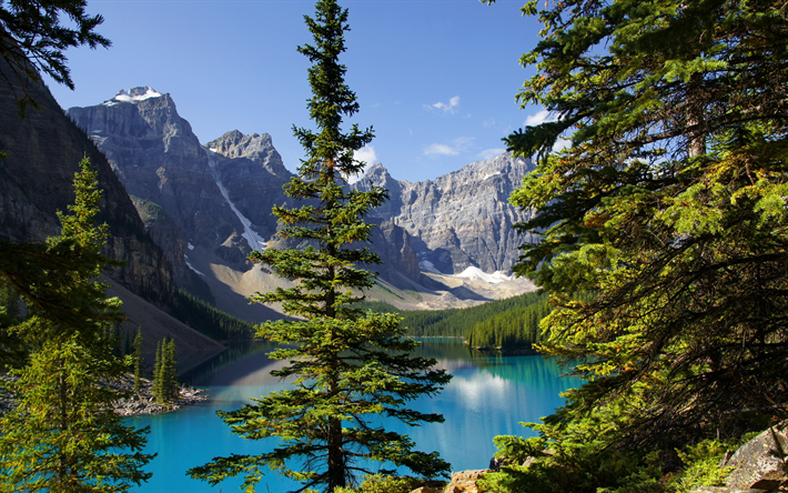 Download Wallpapers Moraine Lake Canada Summer Banff National Park Mountains Canadian Rockies Alberta Forest