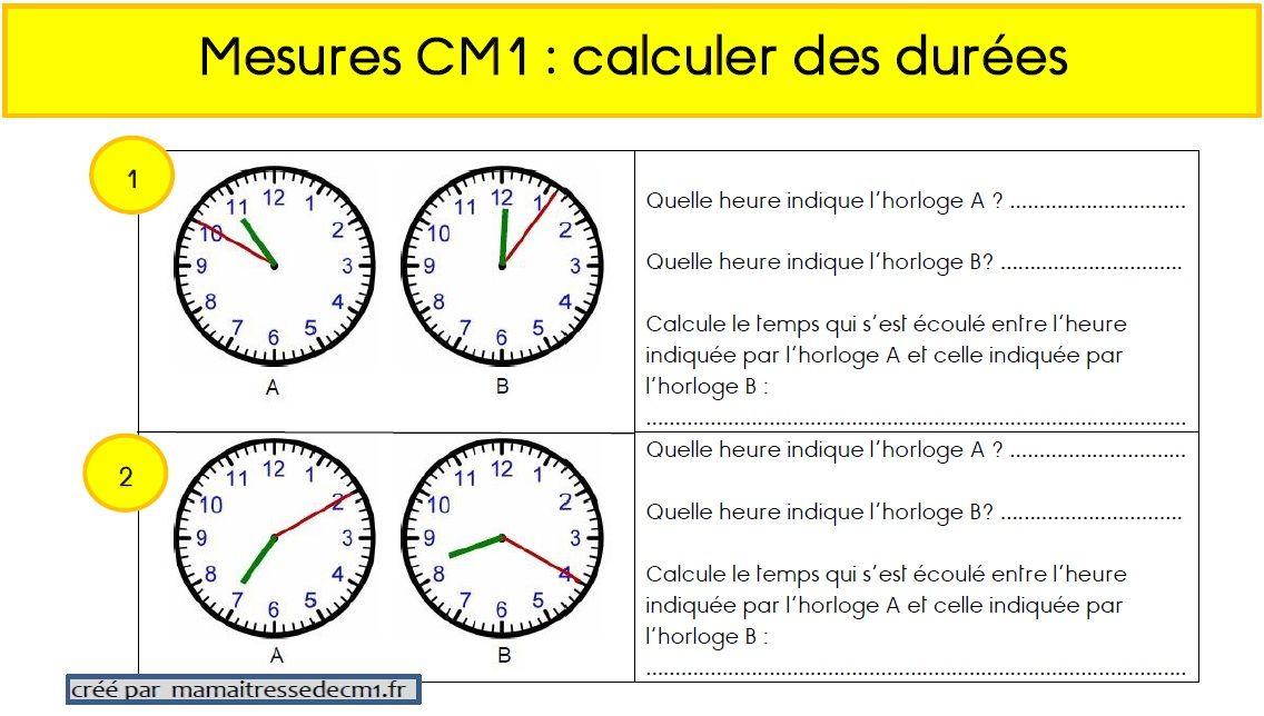 Calculs De Durees En Cm1 Cm1 Mathematiques Ce2 Problemes Mathematiques