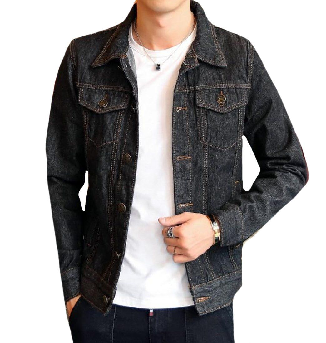 a83d6145f7 Comfy-Men Utility Motorcycle Slim Casual Button Down Denim Jacket in ...