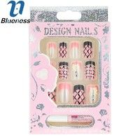 Cute | Blueness 12pcs/set  False Acrylic Nails Artificial Design Tips For Nails Decorated Fake Nails With Glue JH323