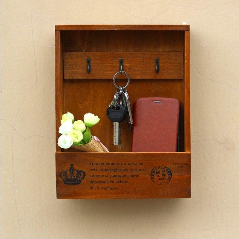 Decorative Key Box For The Wall Enchanting Rusticstyle Wallmount Wood Key Hanging Box Organizer 2 Colors Design Inspiration