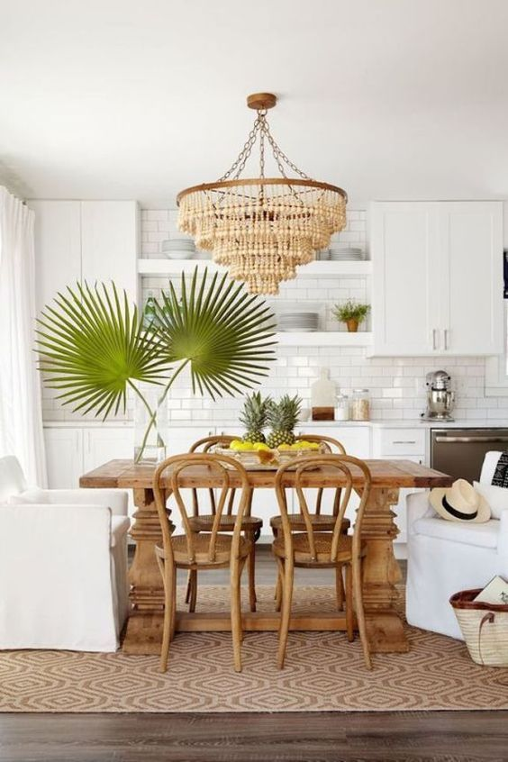 Tropical Kitchen Decor: A Modern Kitchen In White, With A Subway Tile Backsplash