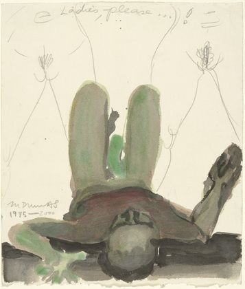 """Marlene Dumas (South African, born 1953)  Ladies, Please  Date:1995-2000Medium:Ink, watercolor, and pencil on paperDimensions:11 1/4 x 9 1/2"""" (28.6 x 24.1 cm)"""