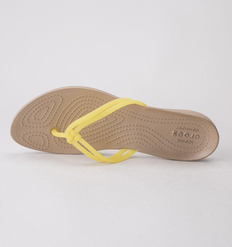 0967b21ae8c Crocs Isabella Flip Lemon-Gold Womens Flip Flops