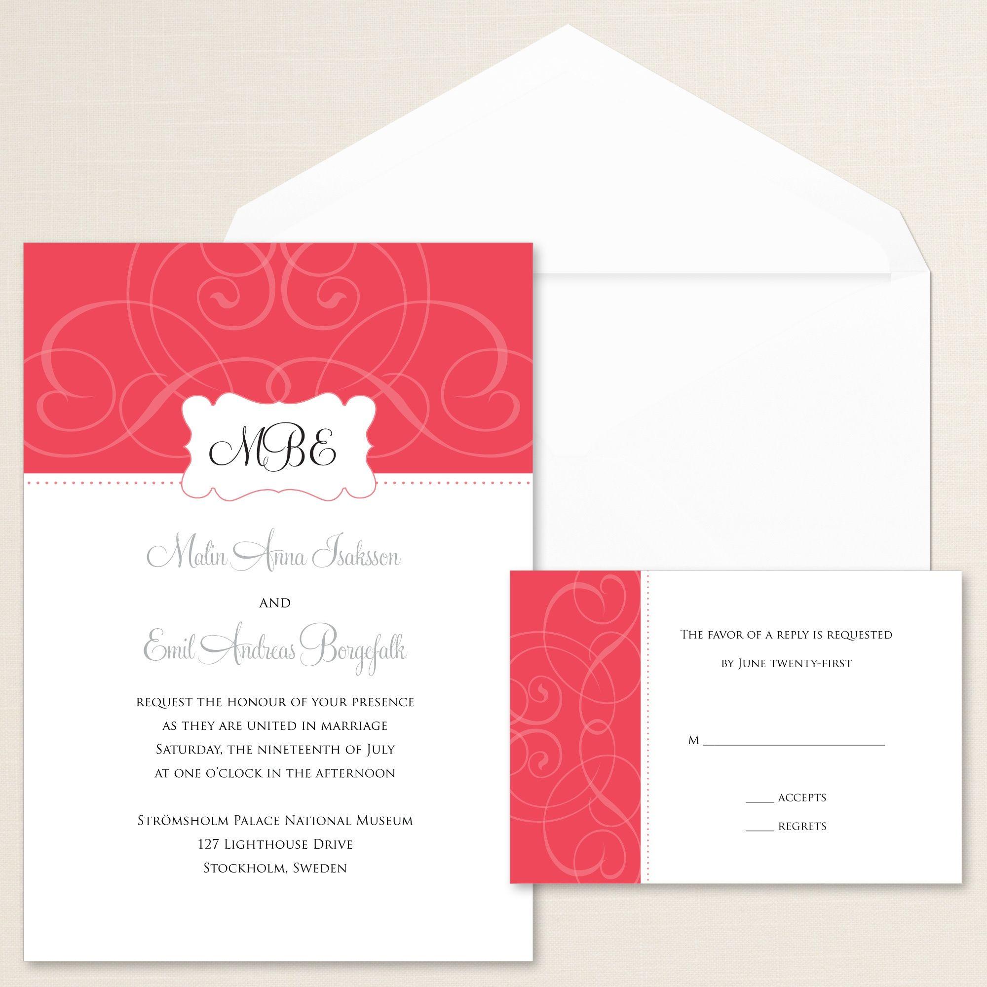 Contemporary Scroll Wedding Invitation | Scroll wedding invitations ...