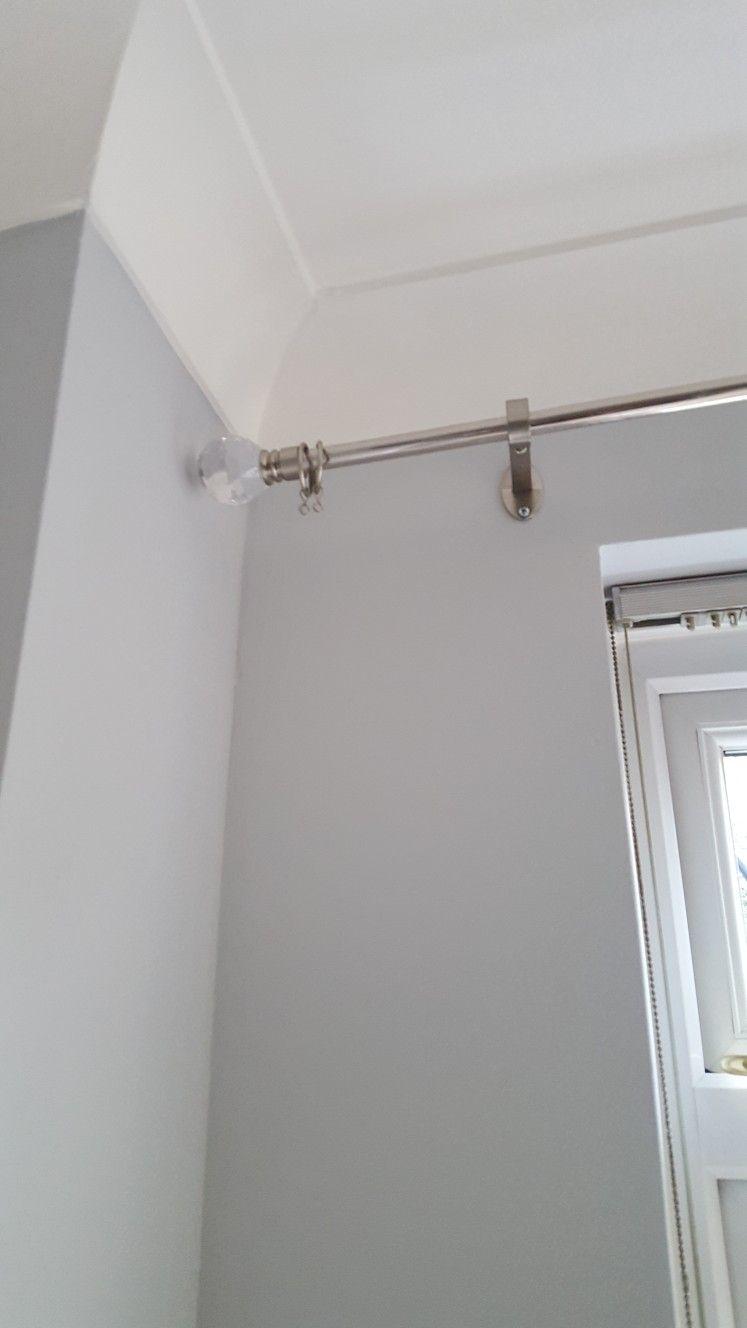 B Q Facet Curtain Pole Against Dulux Polished Pebble Matt Dulux Polished Pebble Dulux Grey Paint Dulux Paint Colours