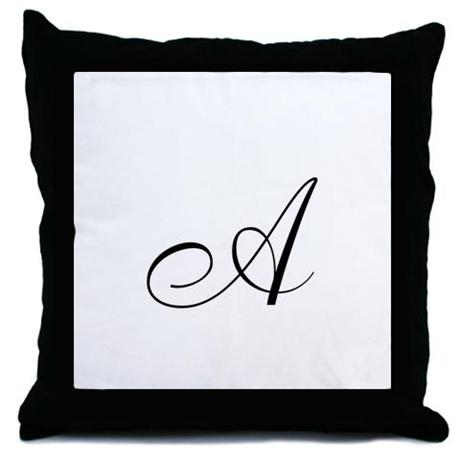 monogram A in black Throw Pillow on CafePress.com