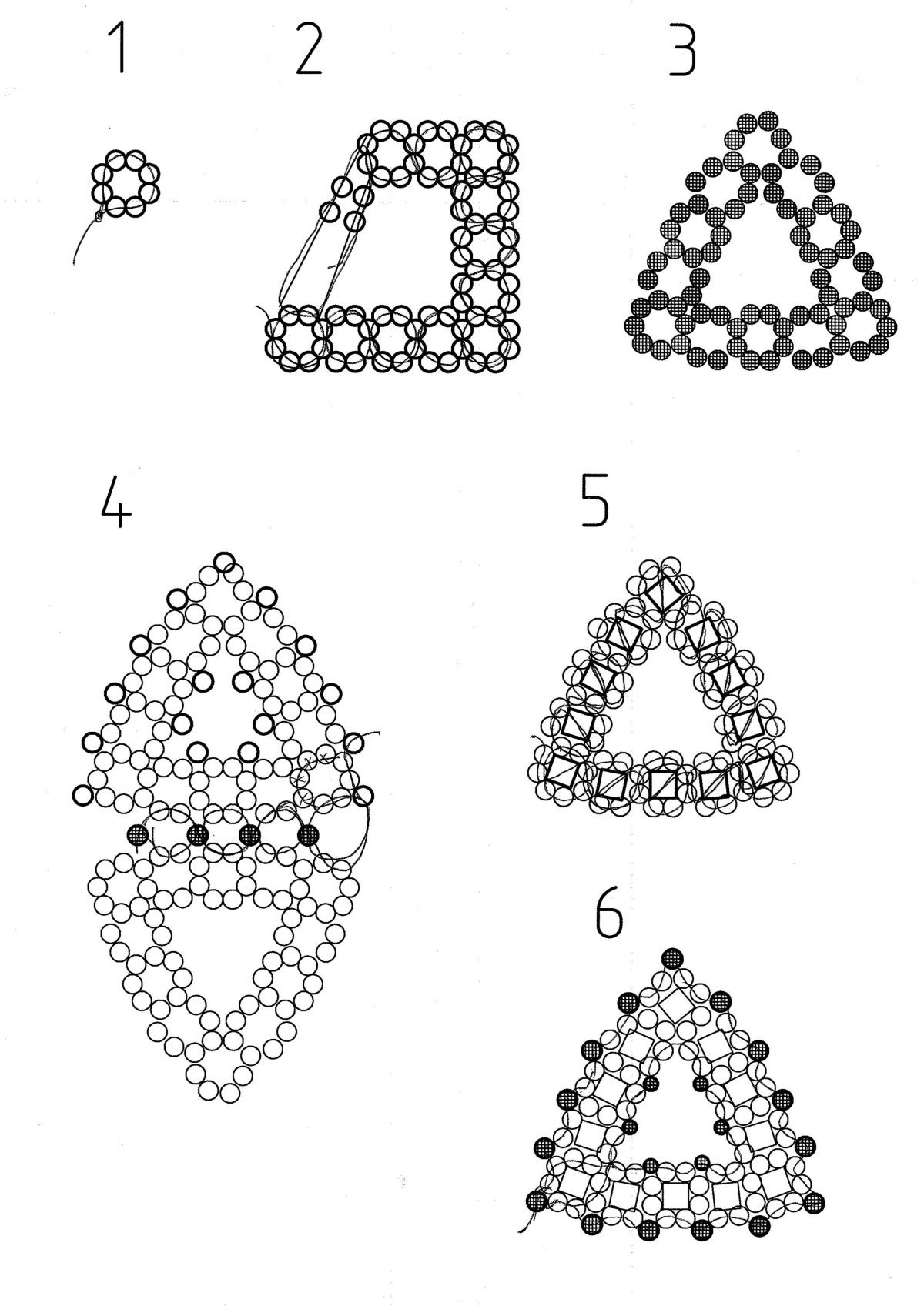 Embellished RAW triangle schema ~ Seed Bead Tutorials
