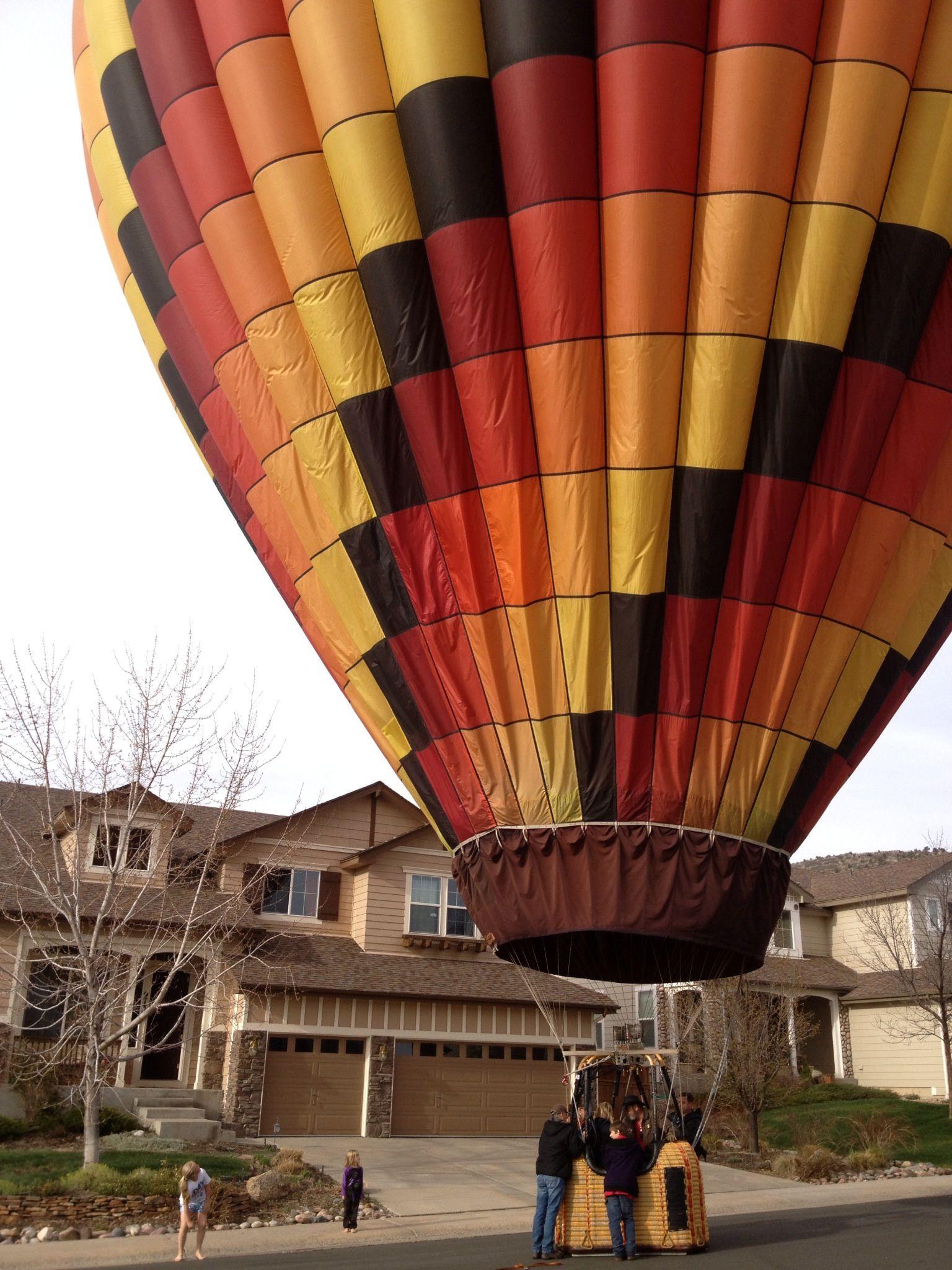 Neighborhood hotair balloon drop in! Hot air balloon