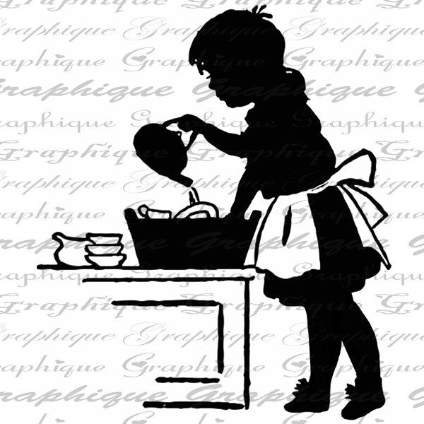 Child Washing Washes Dishes Silhouette Digital Image Download Sheet Transfer To Burlap Fabric Pillows Totes Tea Towels No. 2649. $1.00, via Etsy.
