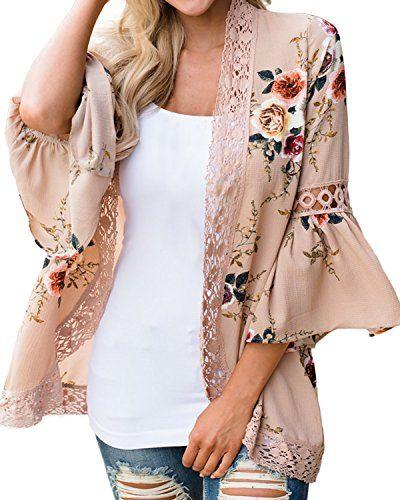 88d6470807a70 Kidsform Femme Gilet Casual Imprimé Grande Taille Vêtement de Plage Bohême  Cover Up Kimono Top Beige