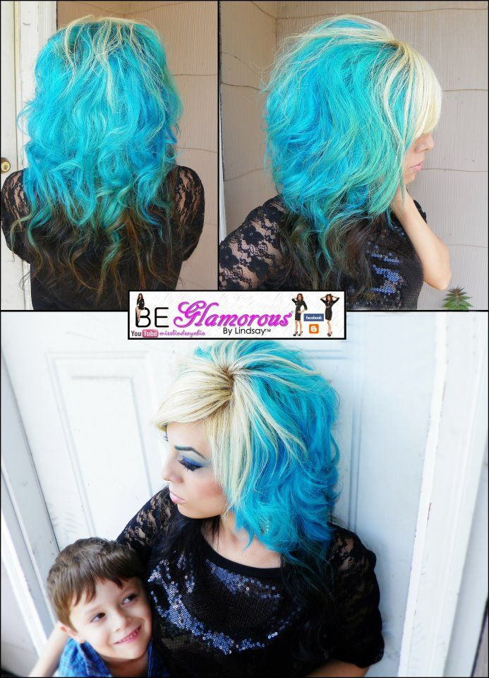 Splat Aqua Rush With Images Extreme Hair Colors Aqua Hair