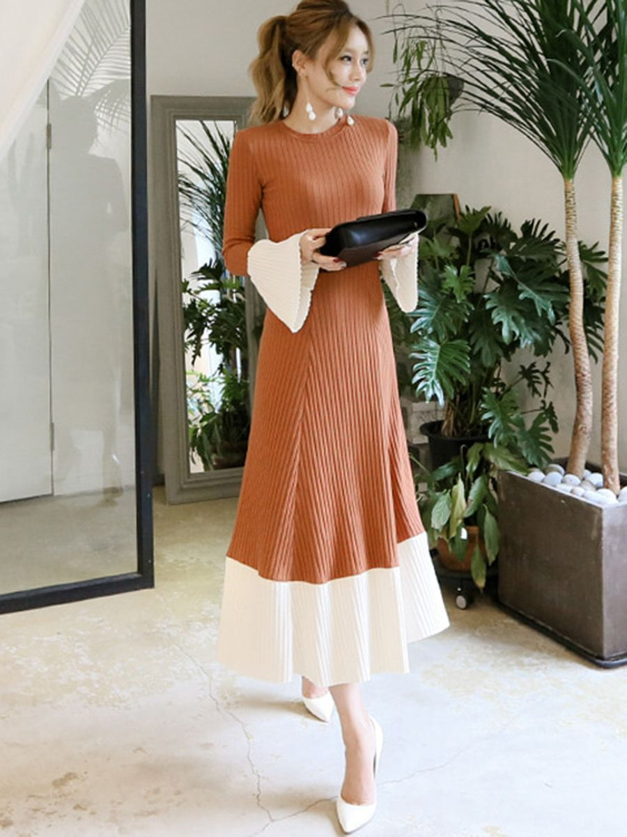 Flare sleeve color block thread long sleeve maxi dress long sleeve