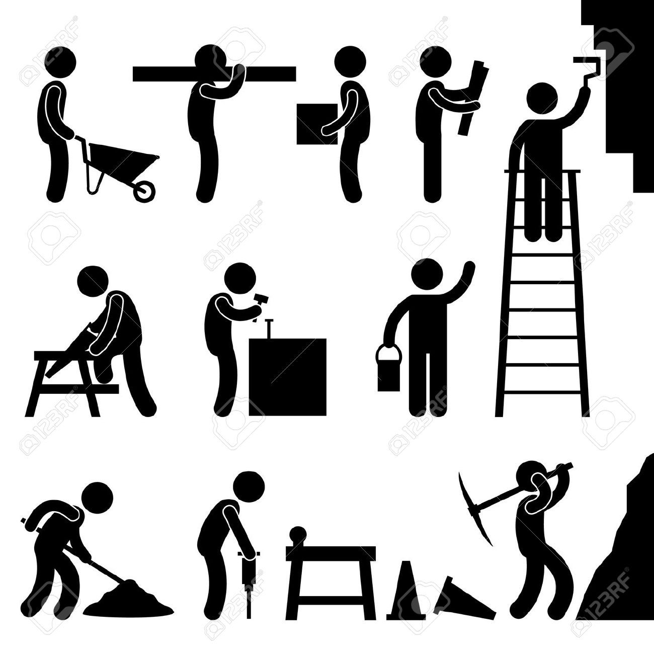 Man People Working Construction Carrying Building Industry Painting Royalty Free Cliparts