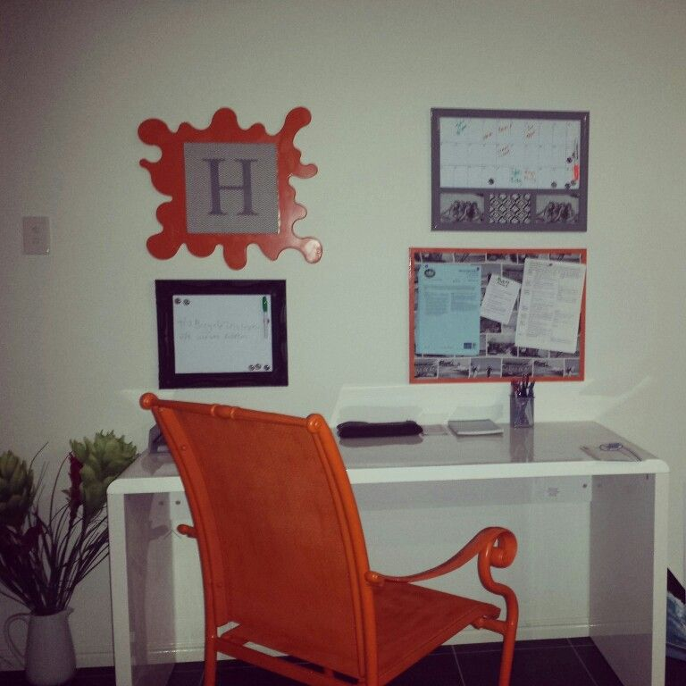 Home Office/Command Centre/painted Orange Chair/Cork Board