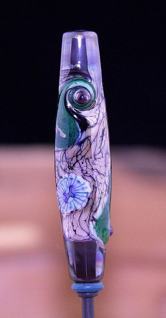 Spanish Moss Handmade Lampworked Glass Bead OOAK by ninaeagle, $21.99