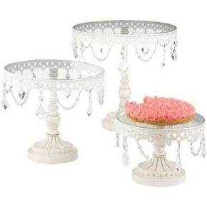 CBK White Iron and Glass Cake Stands - Set of 3