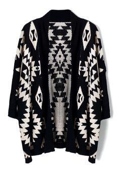 Amazon.co.jp: Chicwish ( シックウィッシュ )アステカ カーディガン Aztec Open Knit Cardigan black ブラック カラー フリーサイズ オープン アズテック柄 海外ブランド 香港: 服&ファッション小物