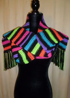 All Stuff Crochet Blog Neon Stripe Scarf Using Red Heart Self