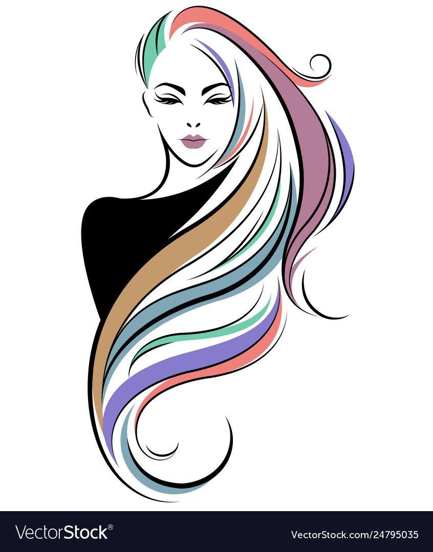 Women Long Hair Style Icon Logo Women Face On Vector Image On Vectorstock Woman Face Silhouette Art Long Hair Styles