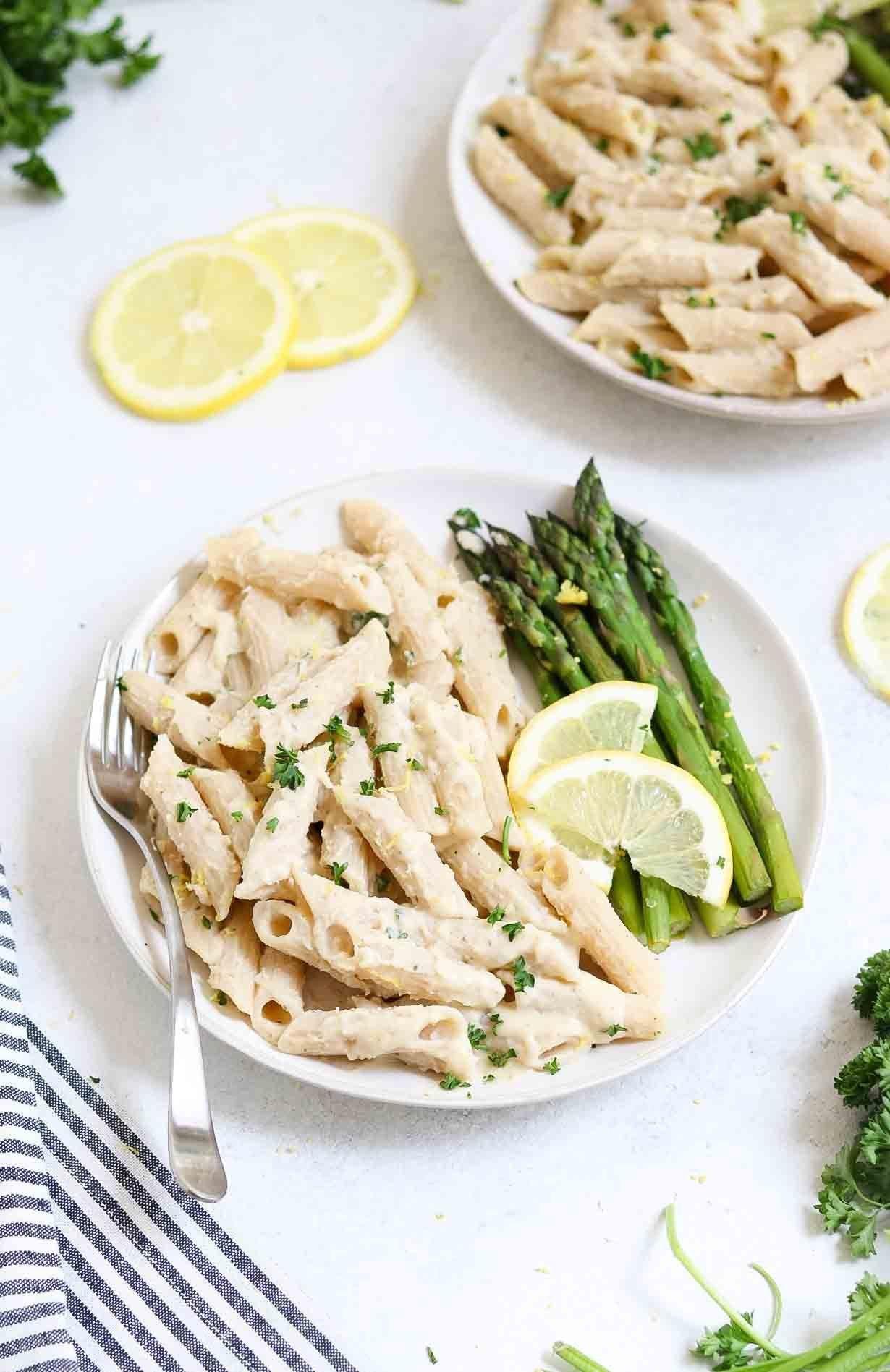 lemon asparagus pasta with white bean sauce recipe pasta pasta sauce dairy free pasta with on hebbar s kitchen white sauce pasta id=76931