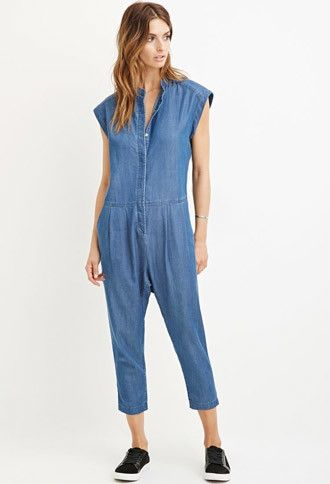 Contemporary Denim Capri Jumpsuit | Forever 21 - 2000146062 ...