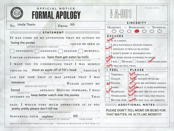 A formal apology form from Fili to Thorin regarding the ponies. Shooting an apple off of Fili's head? Really, Kili?