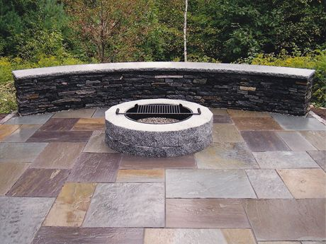 Our Diy Woodbury Gray Granite Fire Pit The Patio Area Is