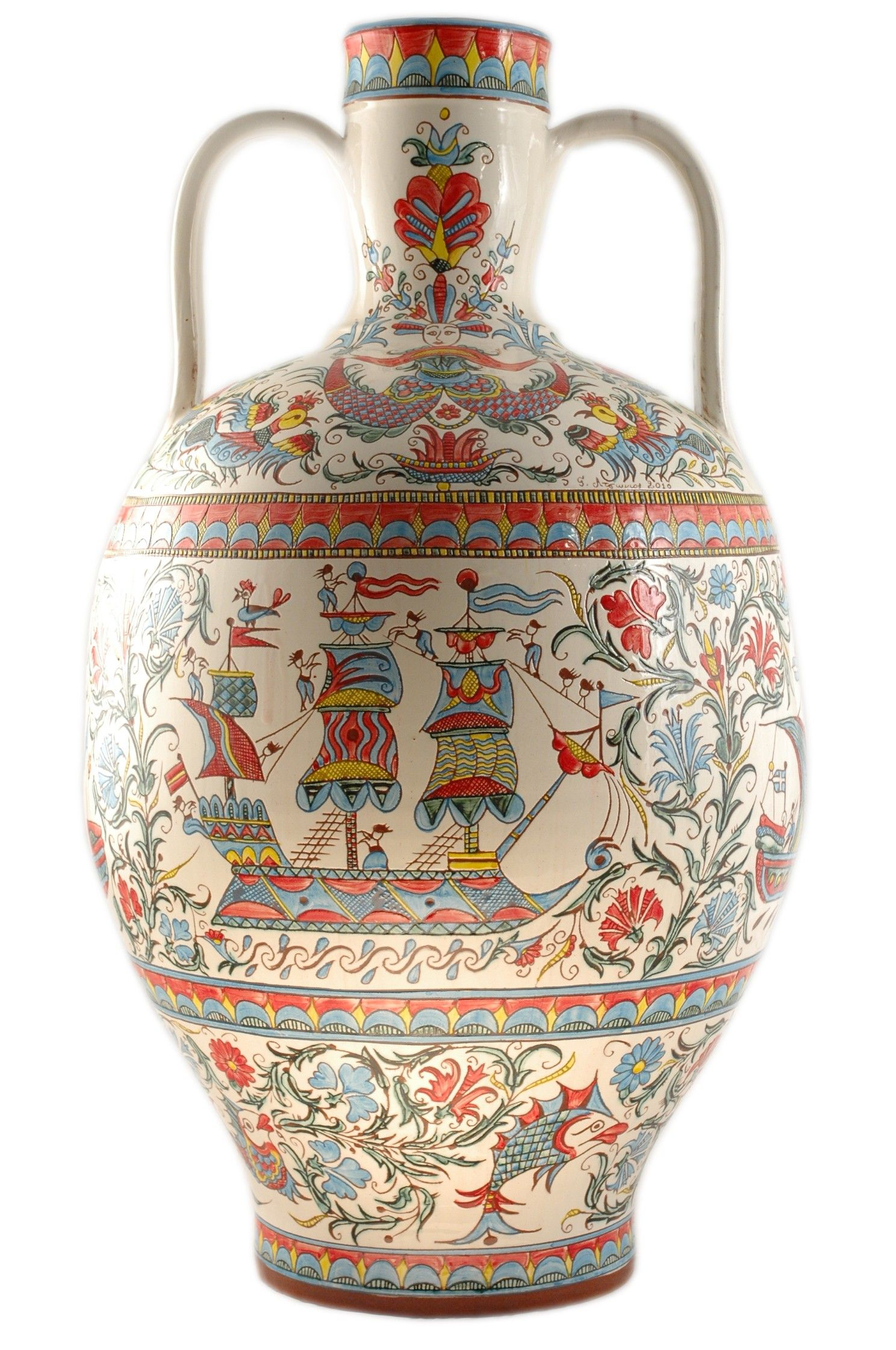 Hand-carved and hand-painted traditional pottery jug (Stamna) with designs inspired by Greek tradition and folk art.