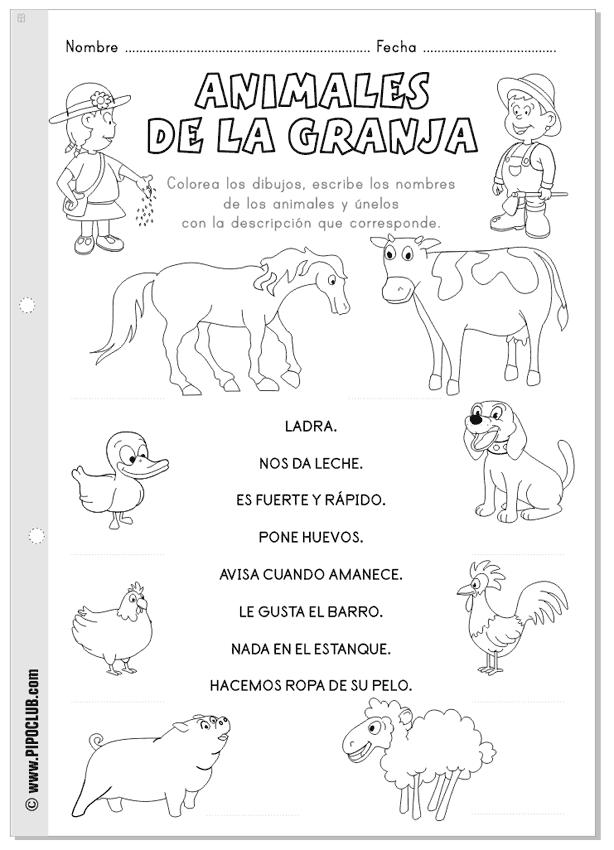 Animales de la granja actividad imprimible | Spanish for Kids ...