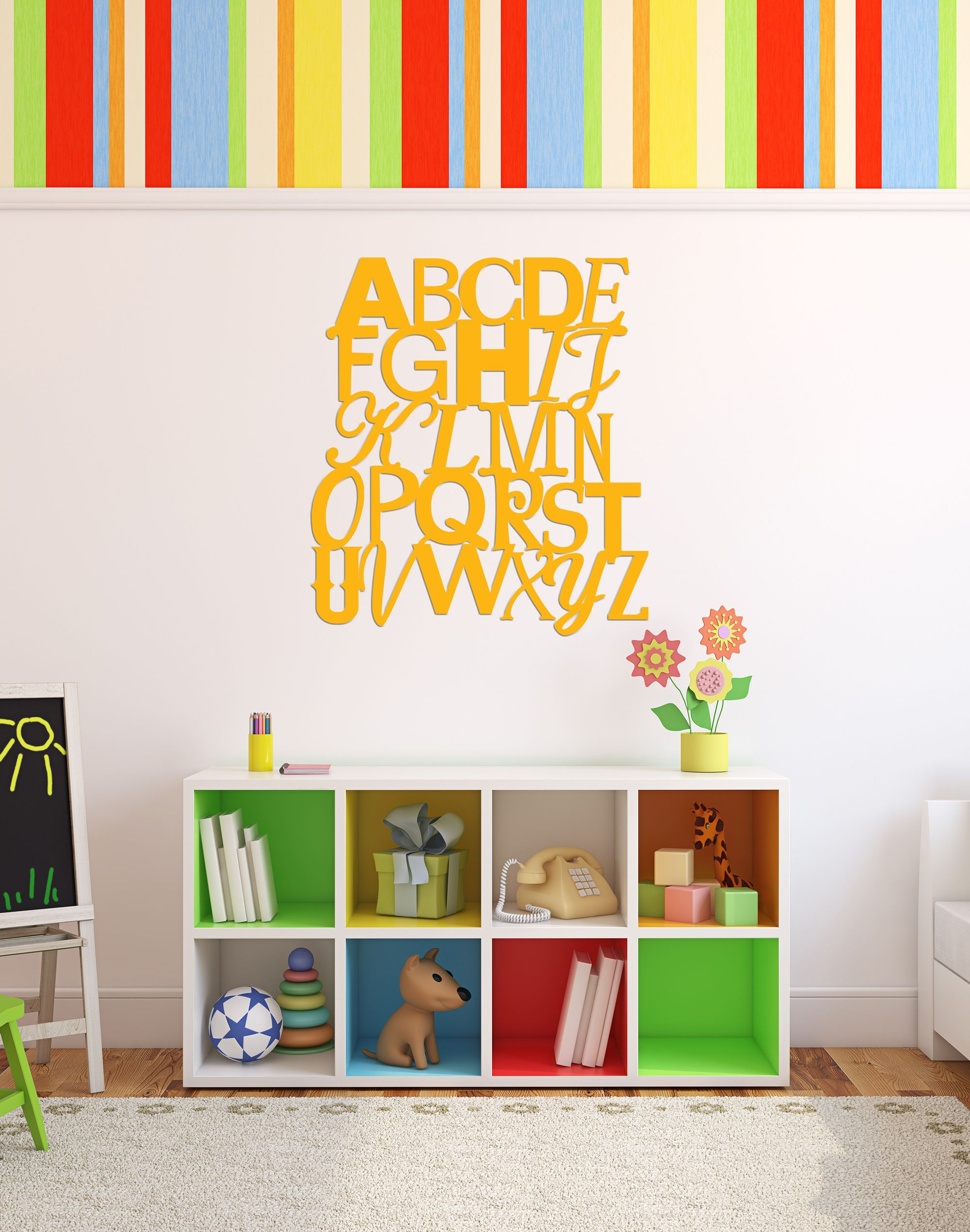 ABC Wall Sign, Artwork for Kids Playroom, Nursery or Bedroom ...