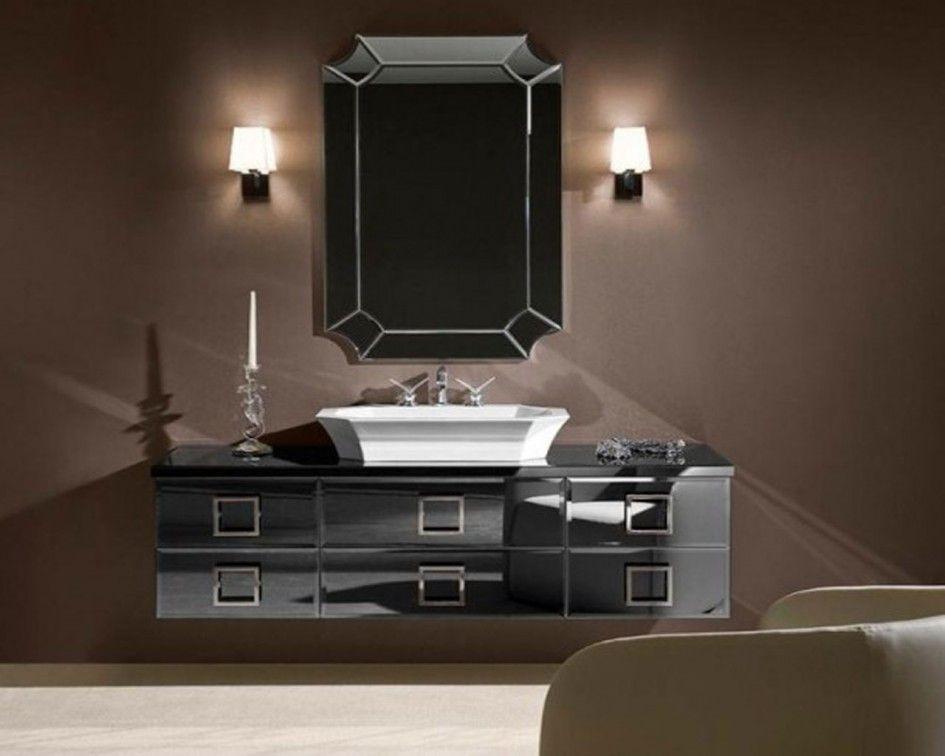 Art deco bathroom designs ideas with black mirror double
