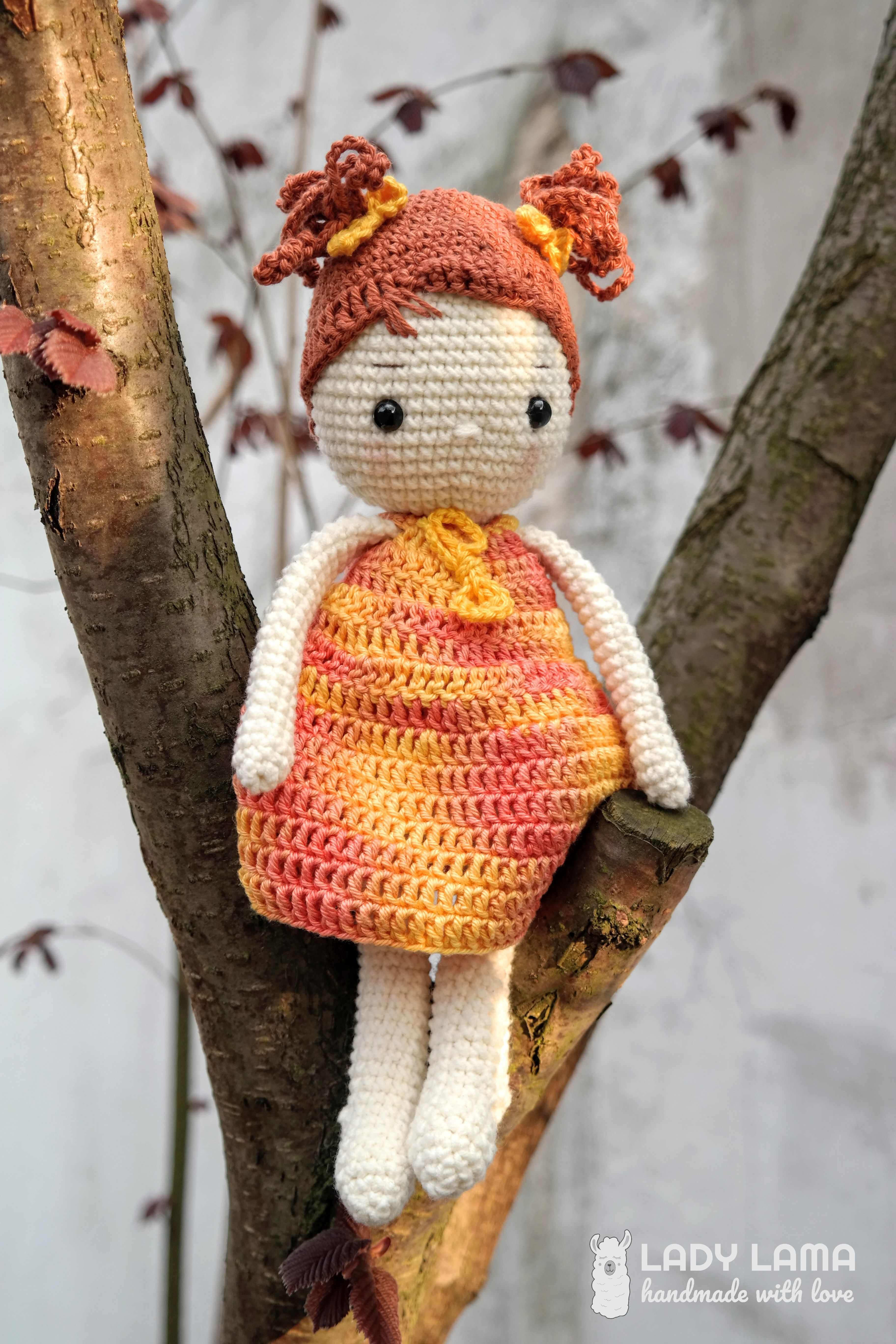 28 Amigurumi Doll Pattern ideas. Crochet doll with lilac dress and ... | 5472x3648
