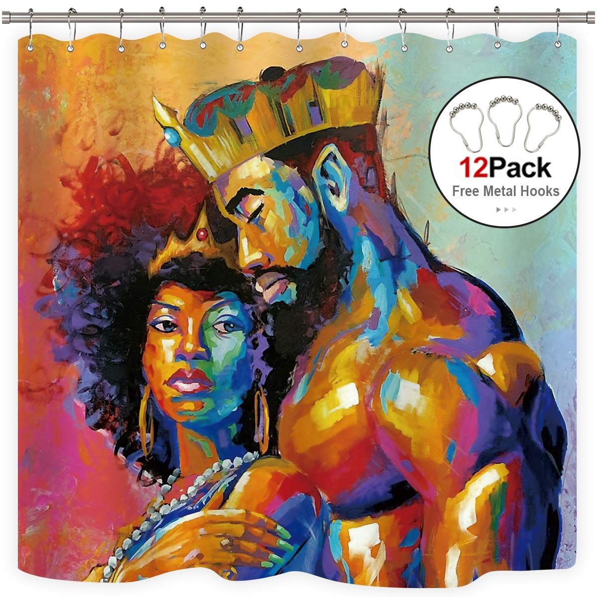 Black Queen Shower Curtain 19 99 Black King Embracing His Black Queen Black Girl Magic