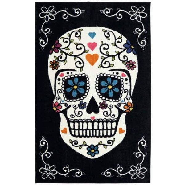 Mohawk Home Black Sugarskullrainbowrug5x8 ($109) ❤ liked on Polyvore featuring home, home decor, skull, black, skull home decor и black home decor