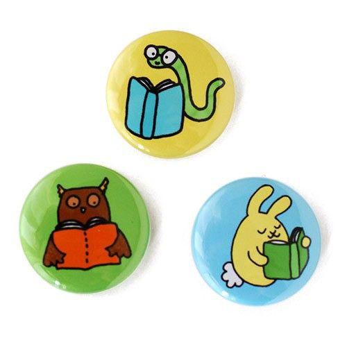Handmade Gifts | Independent Design | Vintage Goods Readin' Animals Pin Set - Accessories - Girls