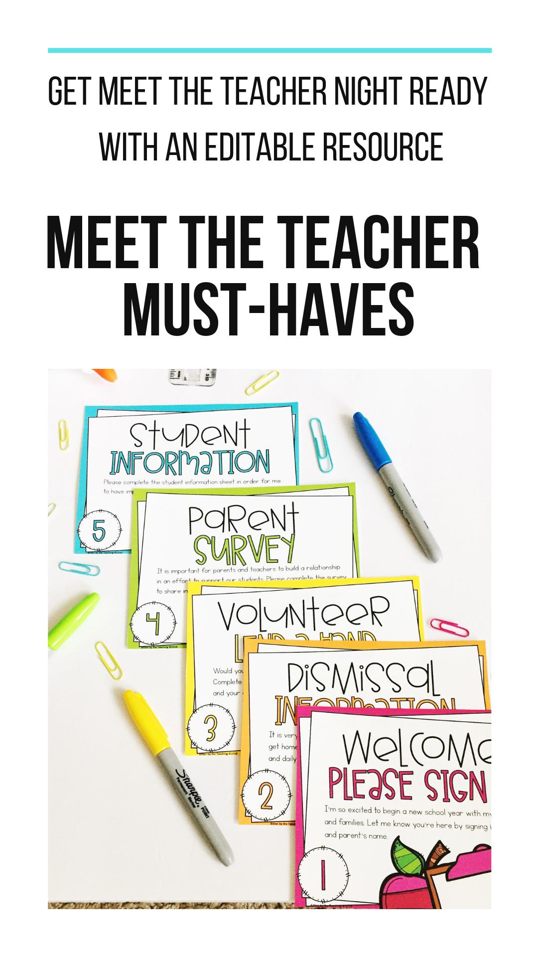 Meet the Teacher Open House Editable Templates and Forms #meettheteacherideas