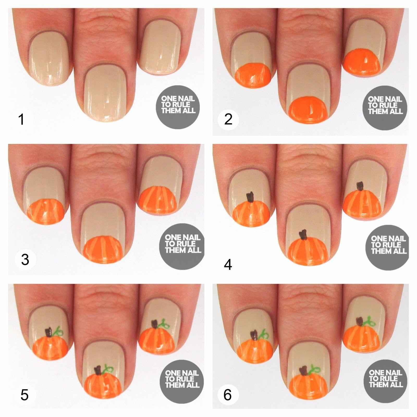 DIY Pumpkin Nails nails fall diy craft nail art nail trends diy ...