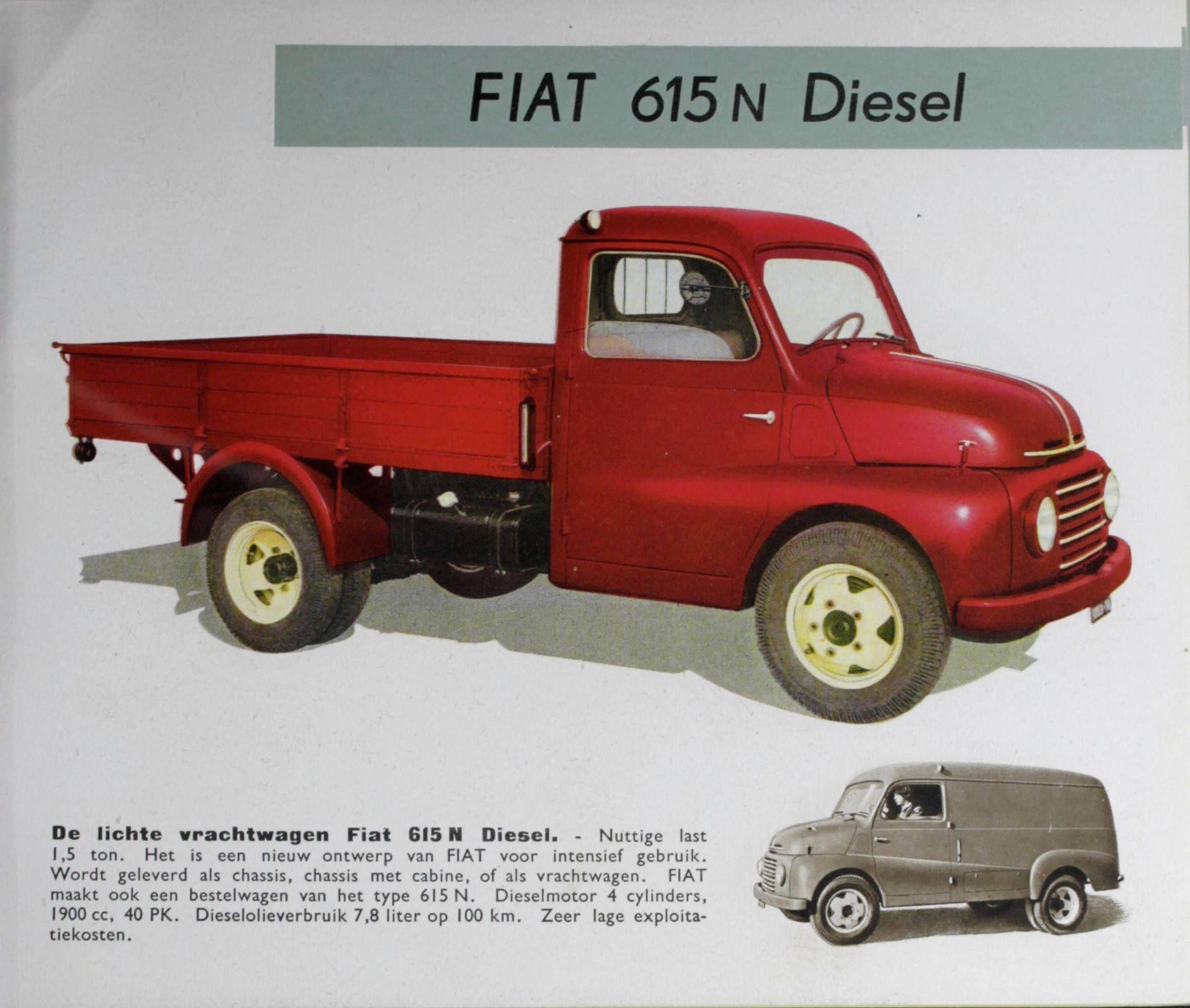 1951-1962 Fiat 615 N | Classic Vintage Trucks | Pinterest | Fiat and ...