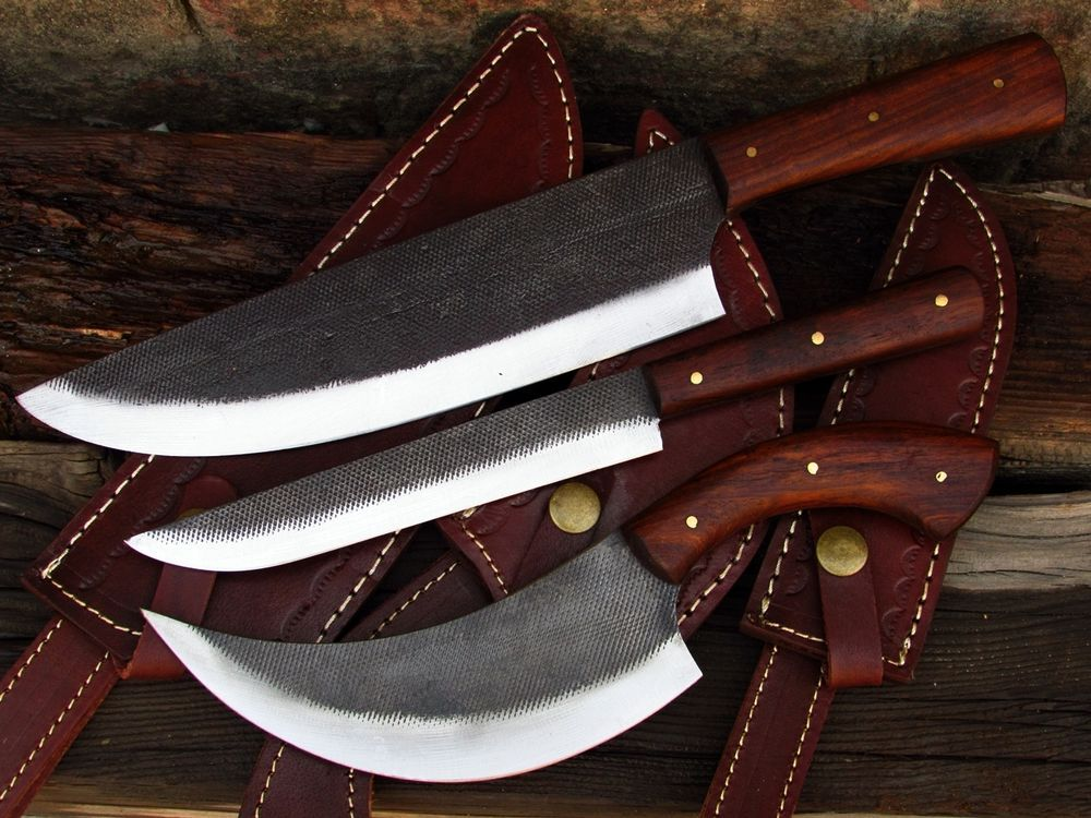 Wb Knives Hand Forged Kitchen Set Of 3 Pcs With Sheaths No Damascus Wbknives