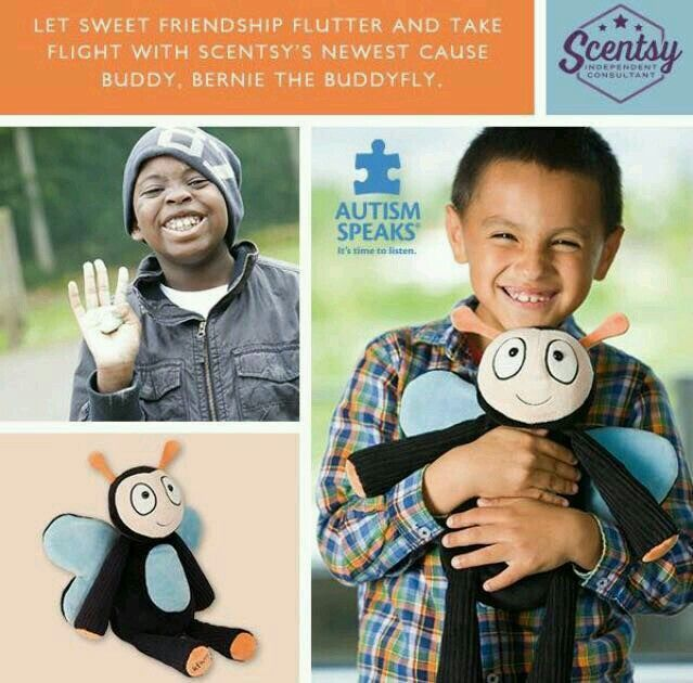 Bernie the buddyfly is one of SCENTSY newest buddy..he comes with a scent pak of your choice.. $35 & scentsy donates $8 from each one sold to AUTISM SPEAKS! Ask me how to get yours and support this cause!