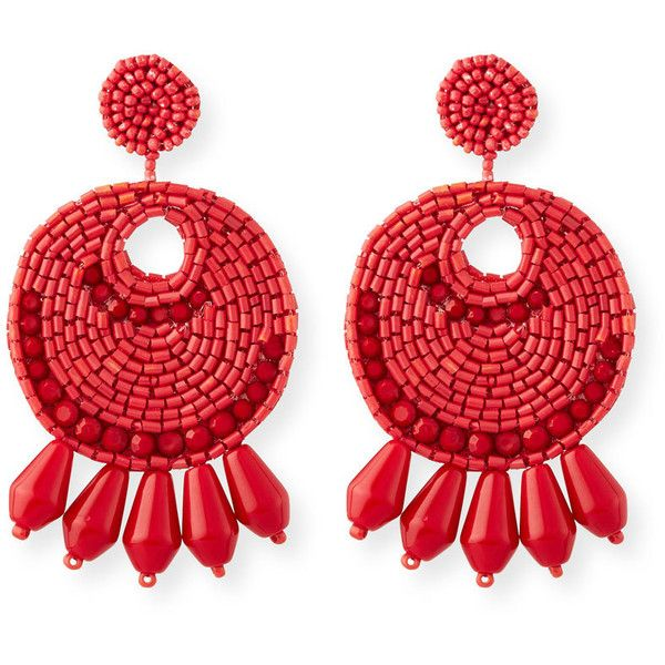 Kenneth Jay Lane Beaded Hoop Drop Earrings (€68) ❤ liked on Polyvore featuring jewelry, earrings, red, beaded earrings, beaded hoop earrings, statement earrings, red dangle earrings and red earrings