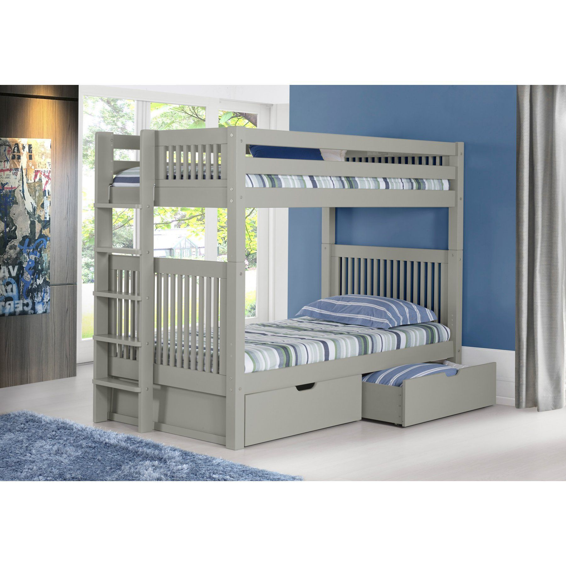 Corner twin loft bed  Camaflexi Mission Headboard Twin over Twin Bunk Bed with Bed End