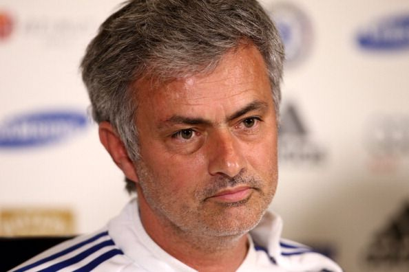 Chelsea Manager Jose Mourinho talks to the press at the Chelsea Training Ground on May 2, 2014 in Cobham, England