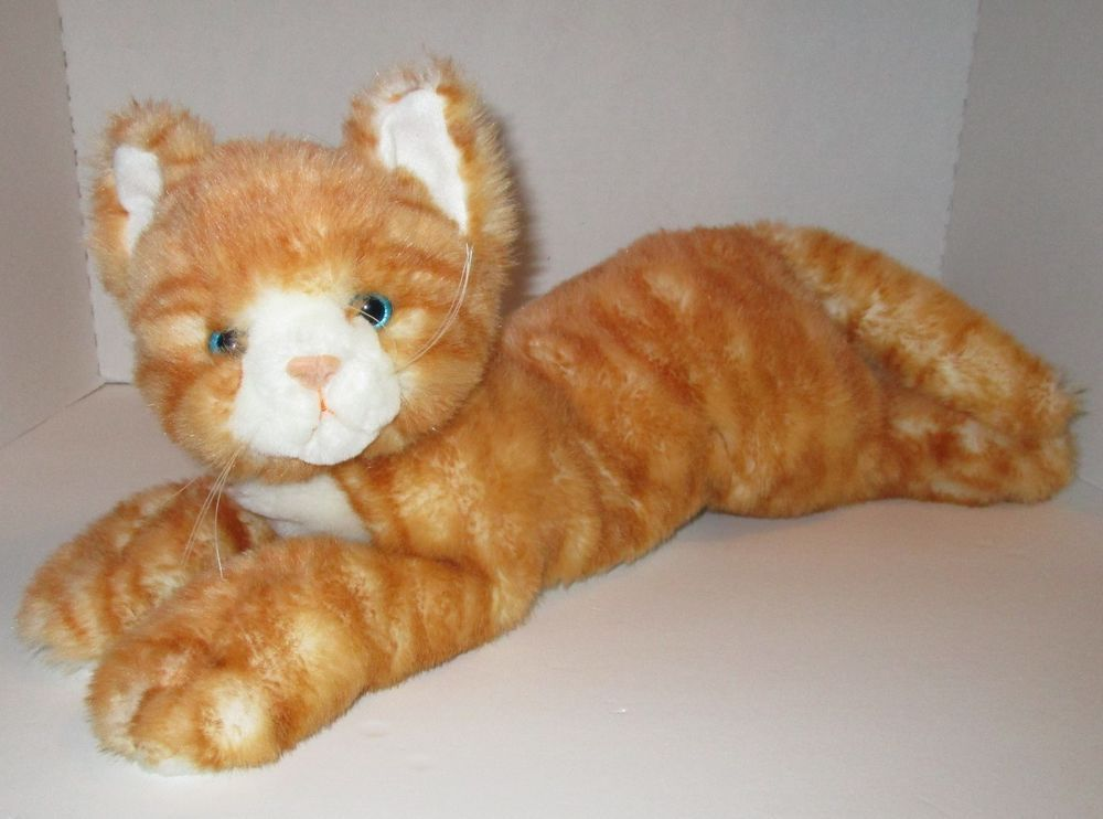Vtg Fiesta Orange Tabby Cat Plush Laying Stuffed Animal 20 Blue