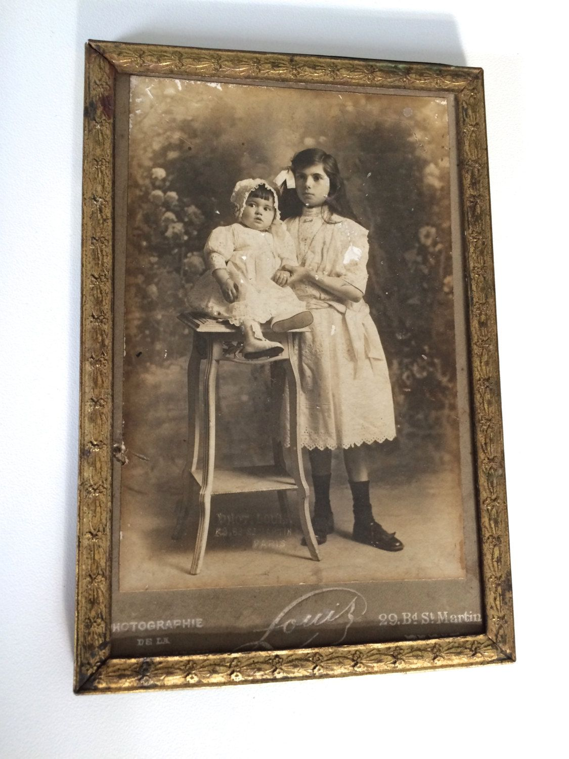 Antique French OLD PHOTO Children Baby Girl Signed LOUIS with Gold ...
