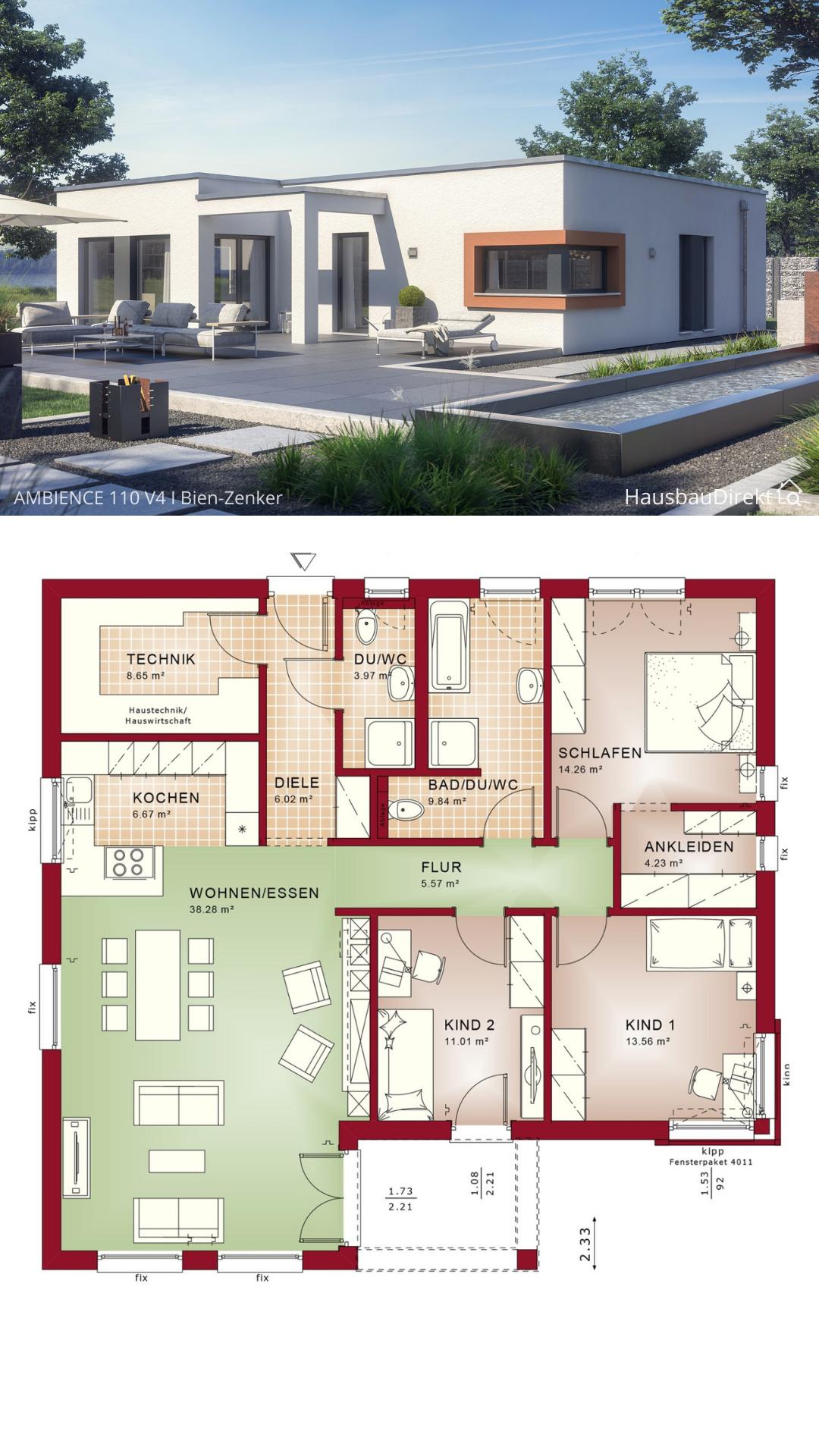 Moderner Fertighaus Bungalow Haus Grundriss mit Flachdach im Bauhausstil bauen 120 qm 4 Zimmer