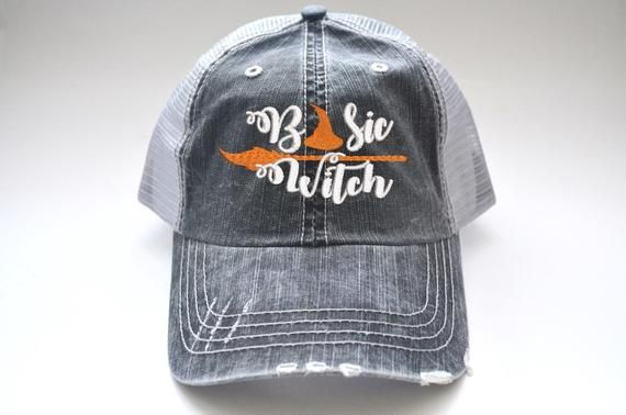 6f8e396e9c0 Basic Witch Distressed women s trucker hat Halloween Hat Cap Embroidered  Funny Quote Hat Halloween Sayings on Caps Baseball Cap Blessed Hat